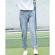 Mujer Simple Tiro Alto Microelástico Pantalones Vaqueros Pantalones,Pantalones Vaqueros Un Color