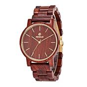 Hombre Reloj de Vestir Reloj Madera Japonés Cuarzo de madera Madera Banda Elegant Minimalista Rojo