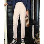 Mujer Casual Tiro Medio Microelástico Empresa Pantalones,Un Color Invierno Otoño
