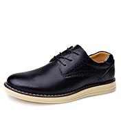 メンズ 靴 本革 冬 秋 コンフォートシューズ オックスフォードシューズ 編み上げ 用途 ブラック Brown レッド