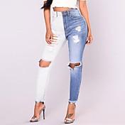 Mujer Simple Vintage Tiro Alto Rígido Ajustado Pantalones,Bloques Algodón Todas las Temporadas
