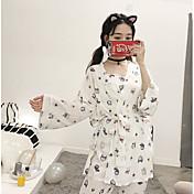 スーツ パジャマ 女性 ポリエステル プリント フラワー ブルー ホワイト ブラック