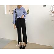 Mujer Casual Tiro Alto Rígido Perneras anchas Chinos Pantalones,Un Color Acrílico Todas las Temporadas