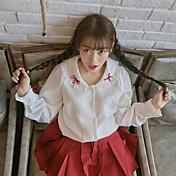 Mujer Activo Casual/Diario Primavera Verano Camisa,Cuello Camisero Un Color Mangas largas Algodón Medio