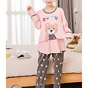 Mujer Traje Pijamas,Animales Algodón Poliéster Rosa