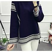 Mujer Regular Pullover Noche Casual/Diario Un Color Escote Redondo Manga Larga Algodón Medio Microelástico