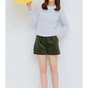 Mujer Chic de Calle Tiro Alto Microelástico Shorts Pantalones,Un Color Otoño