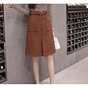 Mujer Vacaciones Sobre la Rodilla Faldas Primavera Invierno Un Color