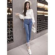 Mujer Simple Tiro Medio Microelástico Ajustado Pantalones,Ajustado Un Color