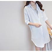 レディース デイリーウェア シャツ,ストリートファッション シャツカラー ストライプ コットン ハーフスリーブ