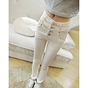 Mujer Casual Tiro Alto Microelástico Vaqueros Chinos Pantalones,Un Color Invierno Otoño