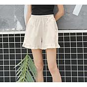 Mujer Casual Tiro Medio Microelástico Perneras anchas Pantalones,Un Color Verano