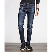 Hombre Simple Tiro Medio Microelástico Ajustado Corte Recto Pantalones,Un Color Invierno Otoño