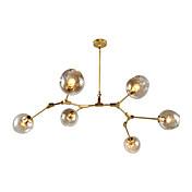 6 cabeza del norte de europa vintage lámpara de araña de oro moléculas de cristal colgante sala de estar dormitorio