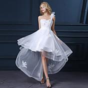 Una línea de un hombro asimétrico de raso vestido de novia de tul con apliques de lan ting novia