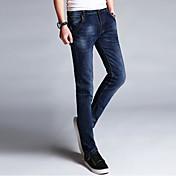 Hombre Simple Tiro Medio Microelástico Vaqueros Pantalones,Un Color Invierno Primavera/Otoño