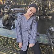 Mujer Chic de Calle Casual/Diario Camisa,Cuello Camisero A Rayas Manga Larga Algodón