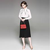 女性用 ブラウス 純色 スカート シャツカラー