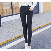 Mujer Color puro Opaco Sólido Poliéster Un Color Legging,Negro
