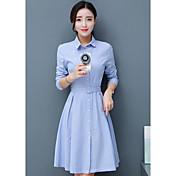 Mujer Vaina Camisa Vestido Noche Simple,Un Color Cuello Camisero Midi Sobre la rodilla Mangas largas Algodón Primavera Otoño Tiro Medio
