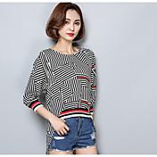 Mujer Chic de Calle Casual/Diario Camiseta,Escote Redondo A Rayas Algodón
