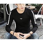 Hombre Chic de Calle Noche Camiseta,Escote Redondo Un Color Manga Larga Algodón