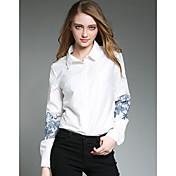 Mujer Sofisticado Casual/Diario Camisa,Cuello Camisero Bordado Manga Larga Algodón