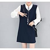 Mujer Recto Vestido Casual/Diario Simple,Lolita Escote en Pico Sobre la rodilla Mangas largas Otro Invierno Otoño Tiro Medio Microelástico