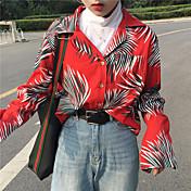 Mujer Bonito Casual/Diario Camisa,Cuello Camisero Estampado Manga Larga Algodón