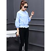 Mujer Camisa, Escote Chino Un Color Poliéster
