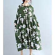 Mujer Corte Ancho Vestido Noche Simple,Estampado Escote Redondo Midi Mangas largas Algodón Primavera Otoño Tiro Medio Microelástico Opaco