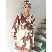 Mujer Corte Ancho Vestido Casual/Diario Simple,Estampado Bloques Escote Redondo Sobre la rodilla Mangas largas Algodón Primavera Otoño