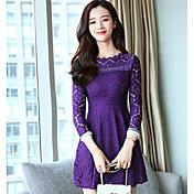Mujer Línea A Encaje Vestido Casual/Diario Simple,Un Color Escote Redondo Sobre la rodilla Mangas largas Algodón Primavera Otoño Tiro