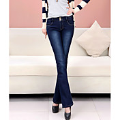 Mujer Tiro Alto Chinos Vaqueros Pantalones - Un Color