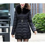 Abrigo Regular Acolchado Mujer Chic de Calle Noche / Tallas Grandes,Un Color Algodón / Poliéster Polipropileno Con Capucha Manga Larga,