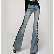 Women's Cotton Jeans Pants - Solid Colore...