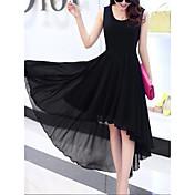 Mujer Noche Chic de Calle Vaina Gasa Corte Swing Vestido - En Capas Volante Plisado, Color sólido Alta cintura Asimétrico Negro