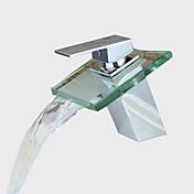 コンテンポラリー センターセット 滝状吐水タイプ セラミックバルブ 一つ シングルハンドルつの穴 クロム, バスルームのシンクの蛇口