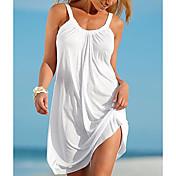 Mujer Playa Básico Recto Vestido Un Color Mini Con Tirantes Blanco / Verano