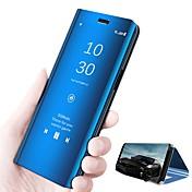 Funda Para Huawei P20 lite P20 con Soporte Espejo Flip Activación al abrir / Reposo al cerrar Funda de Cuerpo Entero Un Color Dura Cuero