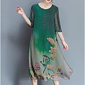 Mujer Tallas Grandes Tejido Oriental Corte Ancho / Gasa Vestido - Estampado, Árboles y Hojas Midi / Verano / Patrones florales