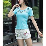 camiseta de mujer - cuello redondo floral