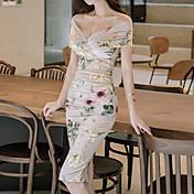 Mujer Corte Bodycon Vestido Geométrico Hasta la Rodilla