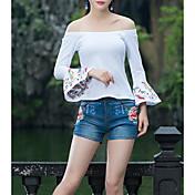 Camisa de lino para mujer que sale - cuello redondo floral