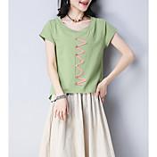 camiseta de lino de mujer - cuello redondo geométrico