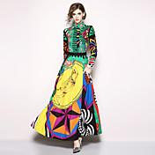 Mujer Boho / Chic de Calle Corte Swing Vestido - Estampado, Geométrico Maxi