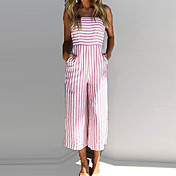 Women's Beach Jumpsuit - Striped Wide Leg...