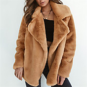 Women's Street chic Fur Coat - Solid Colo...