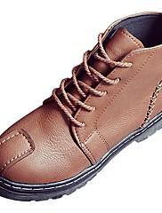 Feminino Sapatos Couro Ecológico Outono Inverno Solados com Luzes Botas Rasteiro Ponta Redonda Cadarço Para Casual Preto Cinzento Khaki