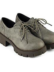 Feminino Sapatos Couro Ecológico Outono Inverno Conforto Oxfords Salto Grosso Para Casual Preto Cinzento Amarelo